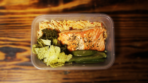 Sweet Chilli Salmon, Protein Noodles & Greens